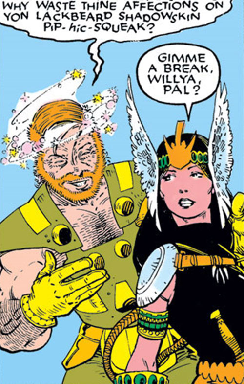 Mirage (Danielle Moonstar of the New Mutants) (Marvel Comics) as a Valkyrie and a drunk Asgardian
