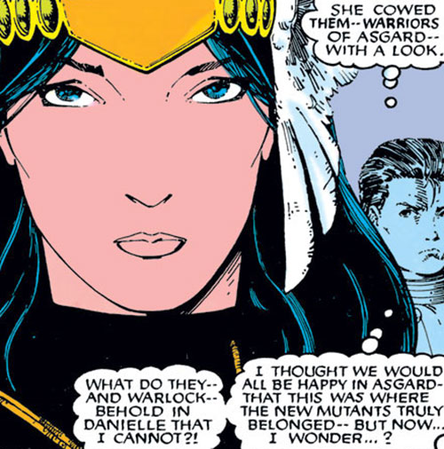 Mirage (Danielle Moonstar of the New Mutants) (Marvel Comics) as a Valkyrie - face closeup