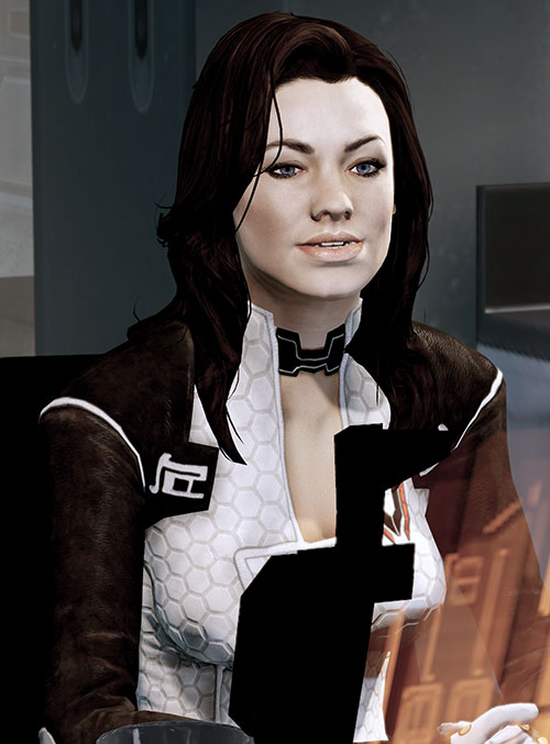 Miranda Lawson (Mass Effect) at her desk