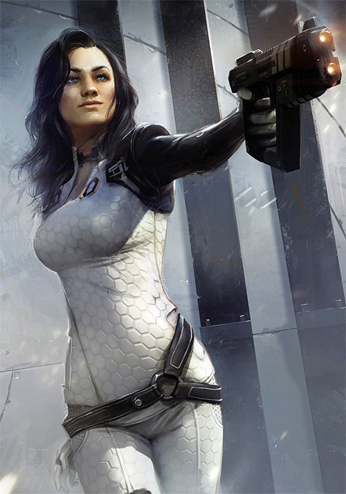 Miranda Lawson (Mass Effect) art, pointing a hot pistol