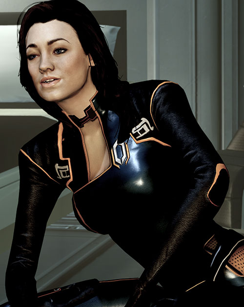 Miranda Lawson (Mass Effect) in black, sitting and talking