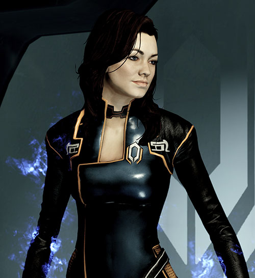 Miranda Lawson (Mass Effect) in black, biotic energy