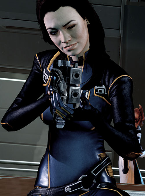 Miranda Lawson (Mass Effect) in black, aiming a pistol