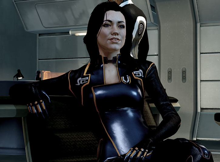 Miranda Lawson sitting in her black uniform