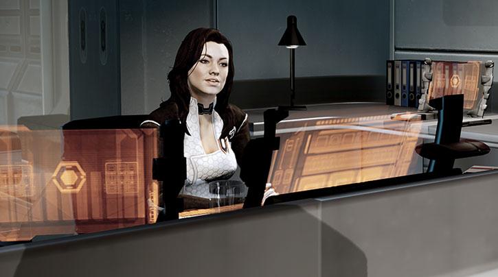 Miranda Lawson at her work desk