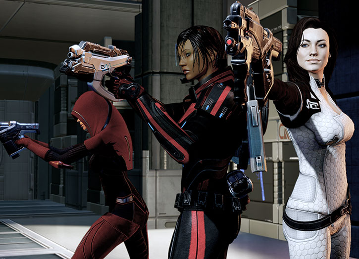 Miranda Lawson, Kasumi and Commander Shepard aim their guns