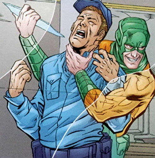 Mirror Master (Flash rogue) (DC Comics) attacks a guard with a sliver of glass