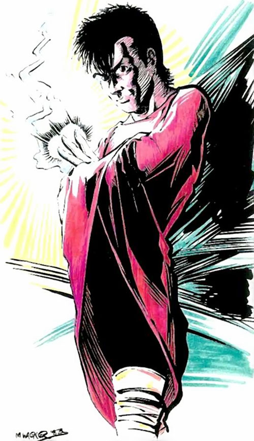 Mirth (Mage: The Hero Discovered comics) early sketch with red cloak