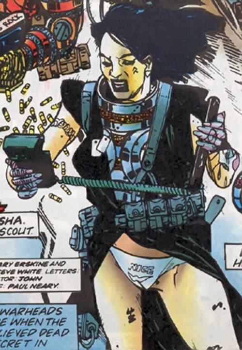 Misha of the Warheads operating electronics (Marvel Comics UK)