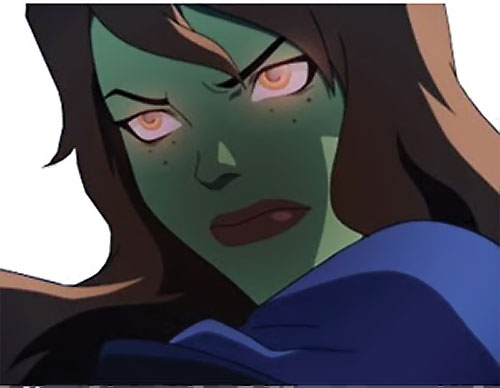 Miss Martian (Young Justice animated series) face closeup glowing eyes