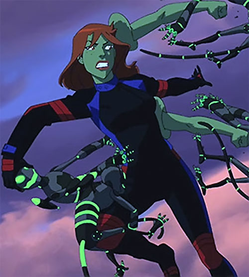 Miss Martian (Young Justice animated series) grows extra arms to repel small robots