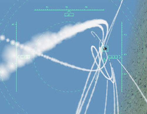 Air-to-air missiles tracking a target