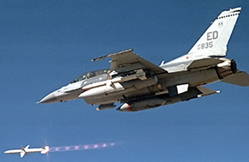 Jet fighter launching a missile