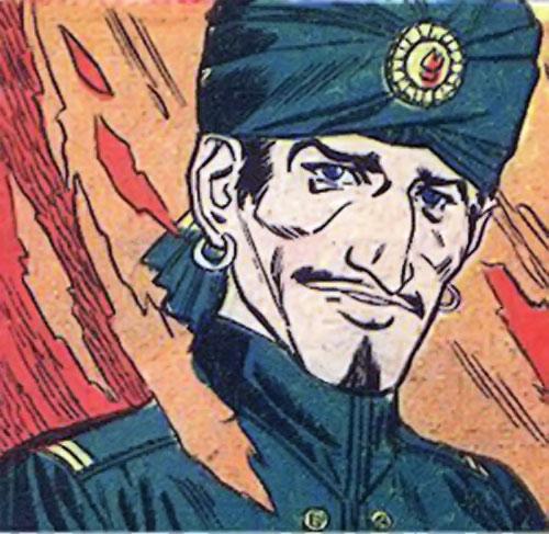 Mister Blaze (Peacemaker enemy) (Charlton Comics) face closeup among flames