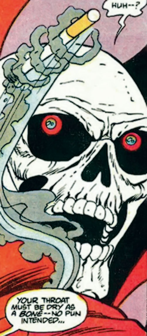 Mister Bones of Helix and Infinity, Inc. (DC Comics) face closeup and flying cigarette