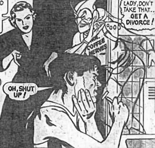Mister Coffee Nerves (vintage Postum adverts) encouraging a divorce