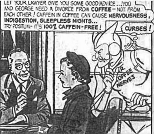 Mister Coffee Nerves (vintage Postum adverts) thwarted by a lawyer