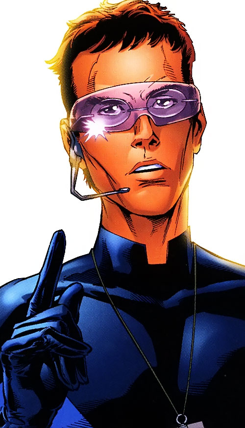 Ultimate Mister Fantastic (Ultimate Marvel Comics) closeup with visor and radio headset