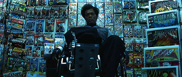 Mister Glass (Samuel Jackson) in his comic books shop
