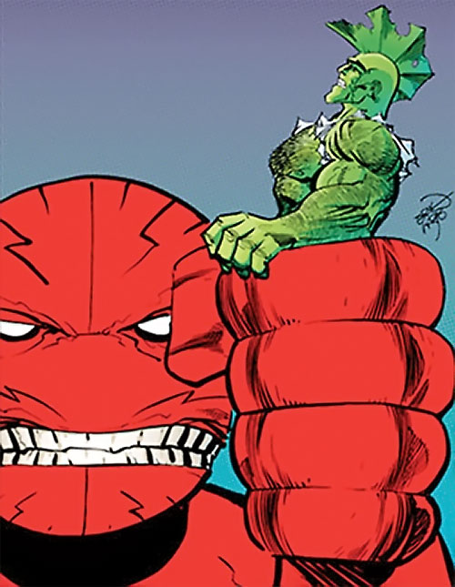 Mister Glum (Savage Dragon enemy) (Image Comics) in giant form holding Dragon