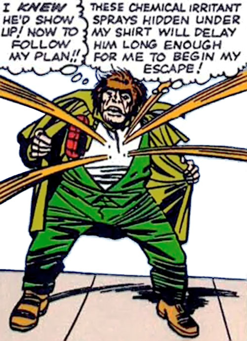 Mister Hyde (Marvel Comics) sprays orange chemicals