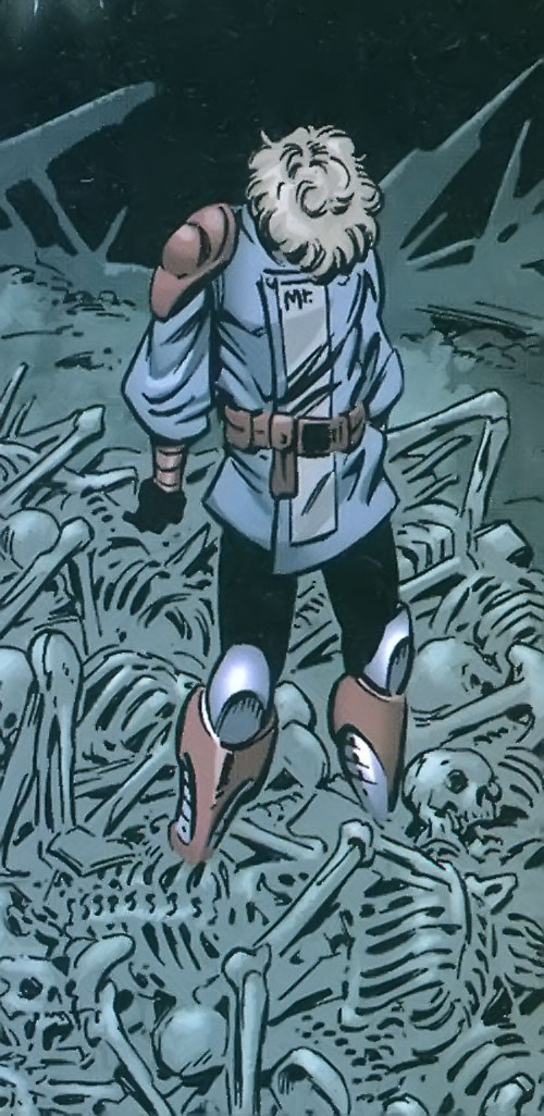 Mister Immortal of the Great Lakes Avengers (Marvel Comics) amidst a sea of bones