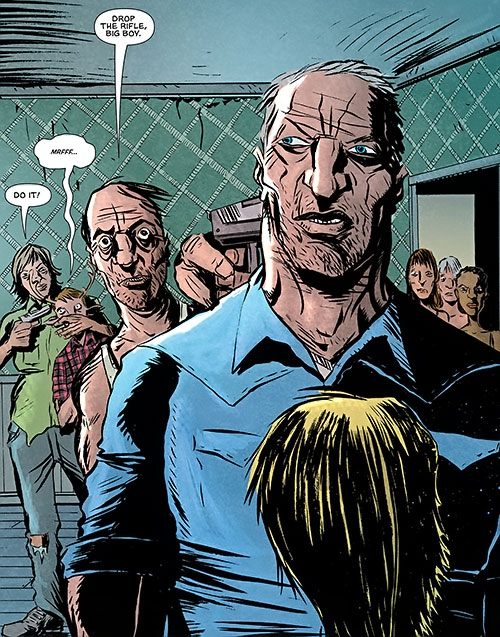 Mister Jepperd (Sweet Tooth comics by Lemire) threatened with a pistol