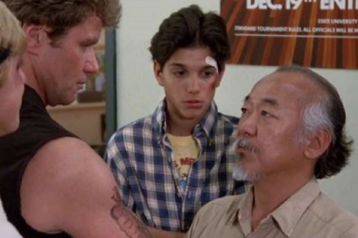 Mister Miyagi - Pat Morita in Karate Kid - confronting Kreese - Daniel wounded