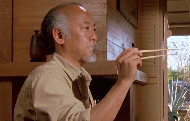 Mister Miyagi - Pat Morita in Karate Kid - catching a fly with chopsticks