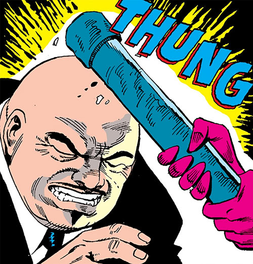 Mister Phun (Captain America enemy) (Marvel Comics) hit on the head with a pipe