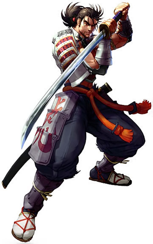 Mitsurugi Heishiro (Soul Calibur) with his sword in a reverse grip