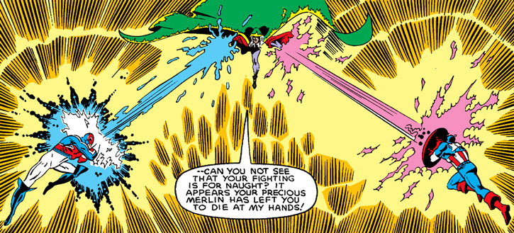 Modred the Mystic (Marvel Comics) (Early) vs. Captain Britain and Captain America eldritch blasts