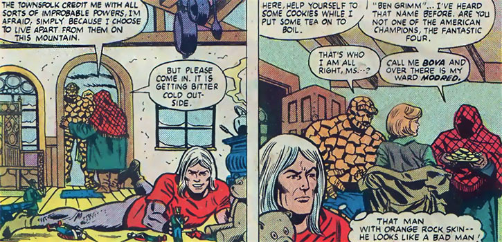 Modred the Mystic (Marvel Comics) (Early) childlike state plus the Thing, Alicia Masters and Bova