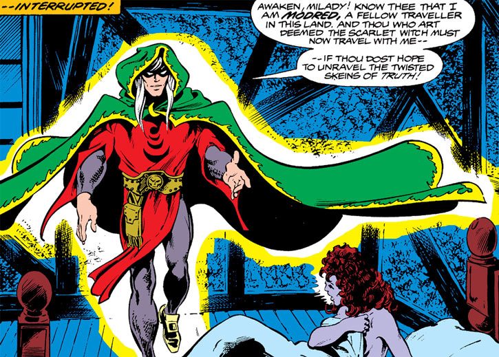 Modred the Mystic (Marvel Comics) (Early) awakens the Scarlet Witch