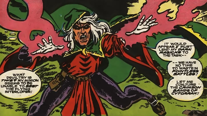 Modred the Mystic (Marvel Comics) (Early) casting the crimson bands of Cytorrak