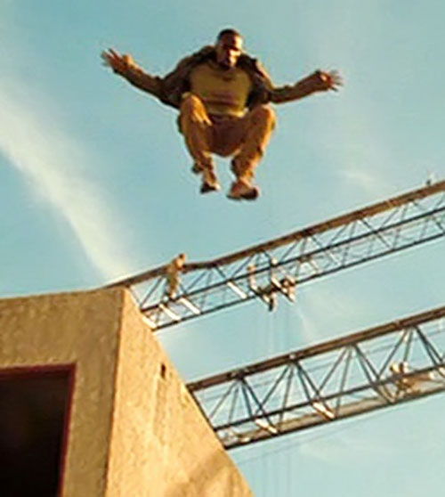 Mollaka (Sebastien Foucan in James Bond Casino Royale) in mid-leap