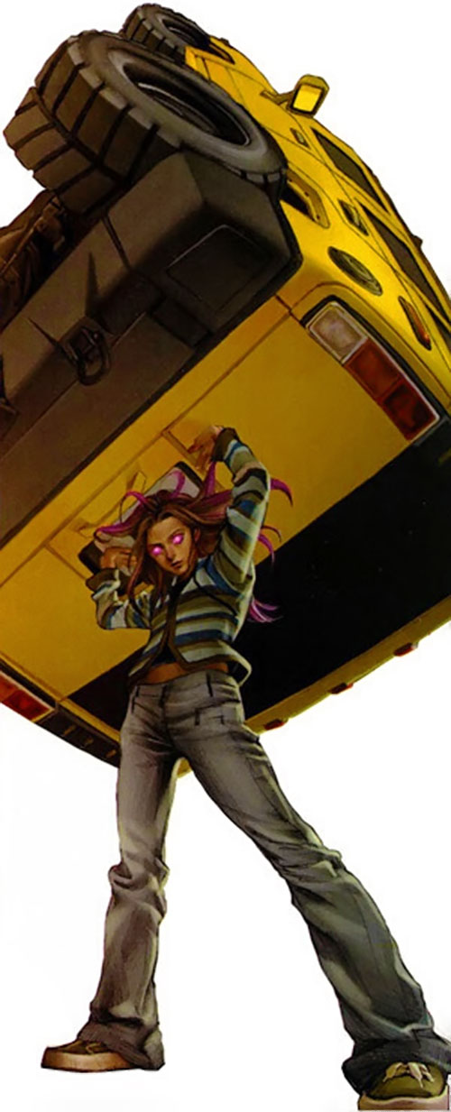 Molly Hayes aka Bruiser of the Runaways (Marvel Comics) lifting a SUV