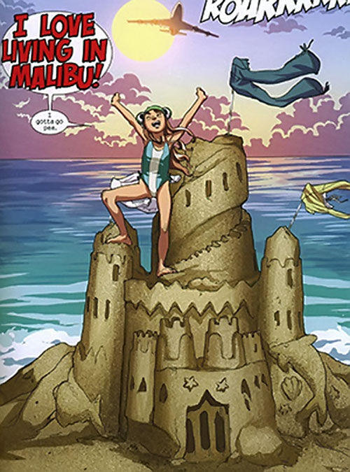 Molly Hayes aka Bruiser of the Runaways (Marvel Comics) on a giant sand castle