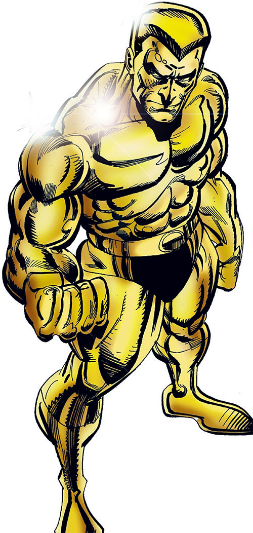 Molten Man (Spider-Man character) and his metallic body (Marvel Comics)
