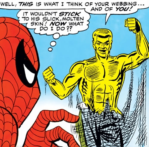Molten Man (Spider-Man character) slips out of Spidey's webbing