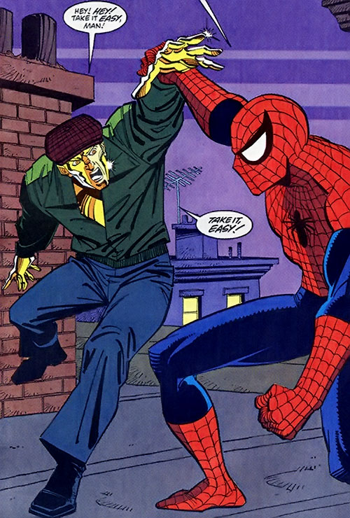 Molten Man (Marvel COmics) runs into Spider-Man