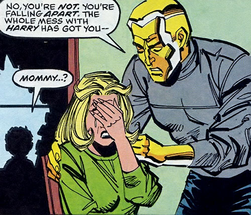 Molten Man (Spider-Man character) consoling Liz Osborn
