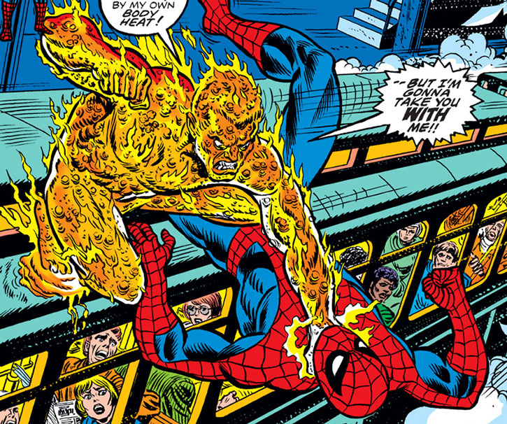 The Molten Man (Mark Raxton) choking Spider-Man atop a commuter train