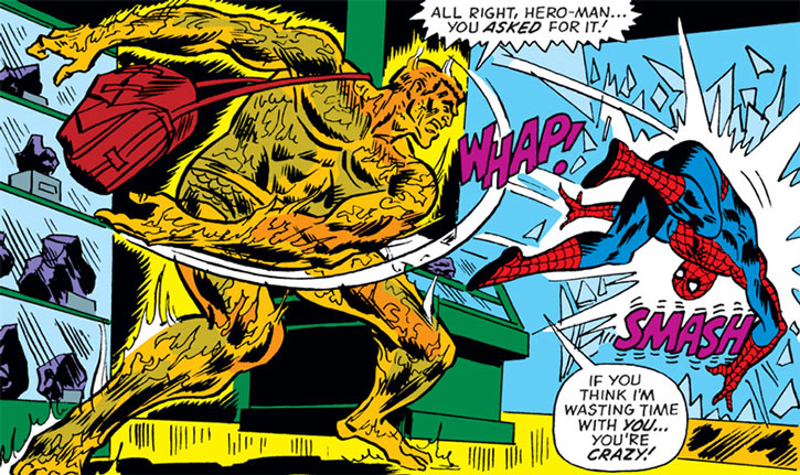 The Molten Man (Mark Raxton) throws Spider-Man against some furniture