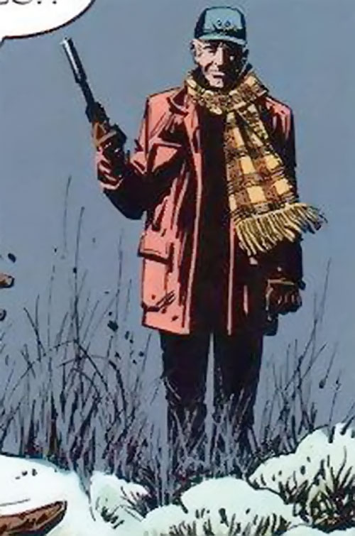 La Mangouste (Mongoose) (XIII graphic novels) in the snow with a silenced pistol