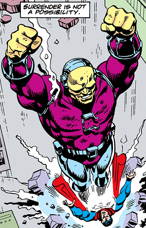 Mongul (Superman enemy) (Pre-Crisis DC Comics) landing feet first on Superman