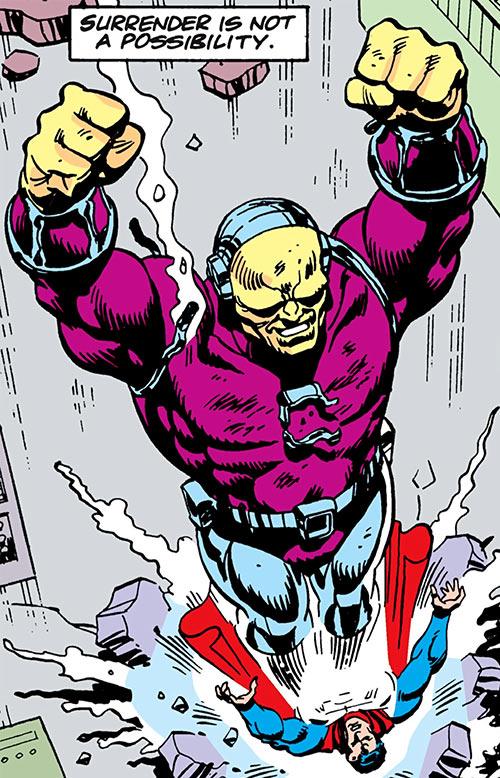 Mongul (Superman enemy) (Pre-Crisis DC Comics) landing feet first on Superman