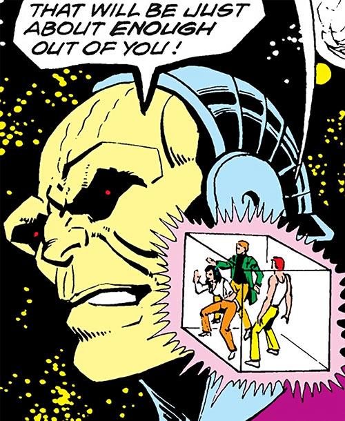 Mongul (Superman enemy) (Pre-Crisis DC Comics) face closeup with inversion cube