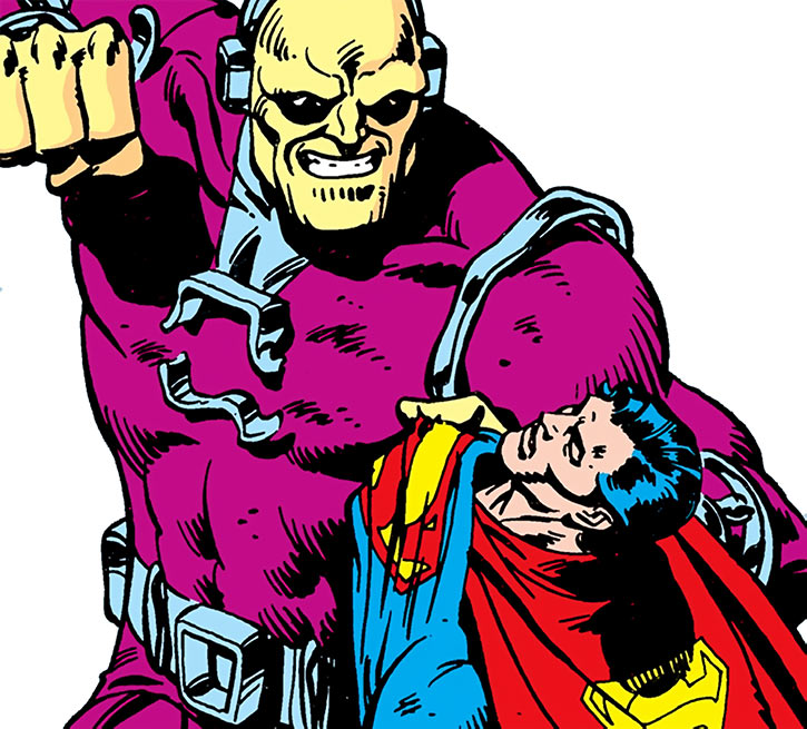 Mongul knocks out Superman, on a white background