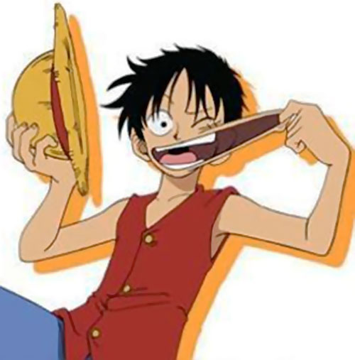 Monkey Luffy (One Piece) stretching his mouth